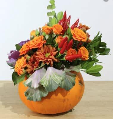 pumpkin flowers centerpiece